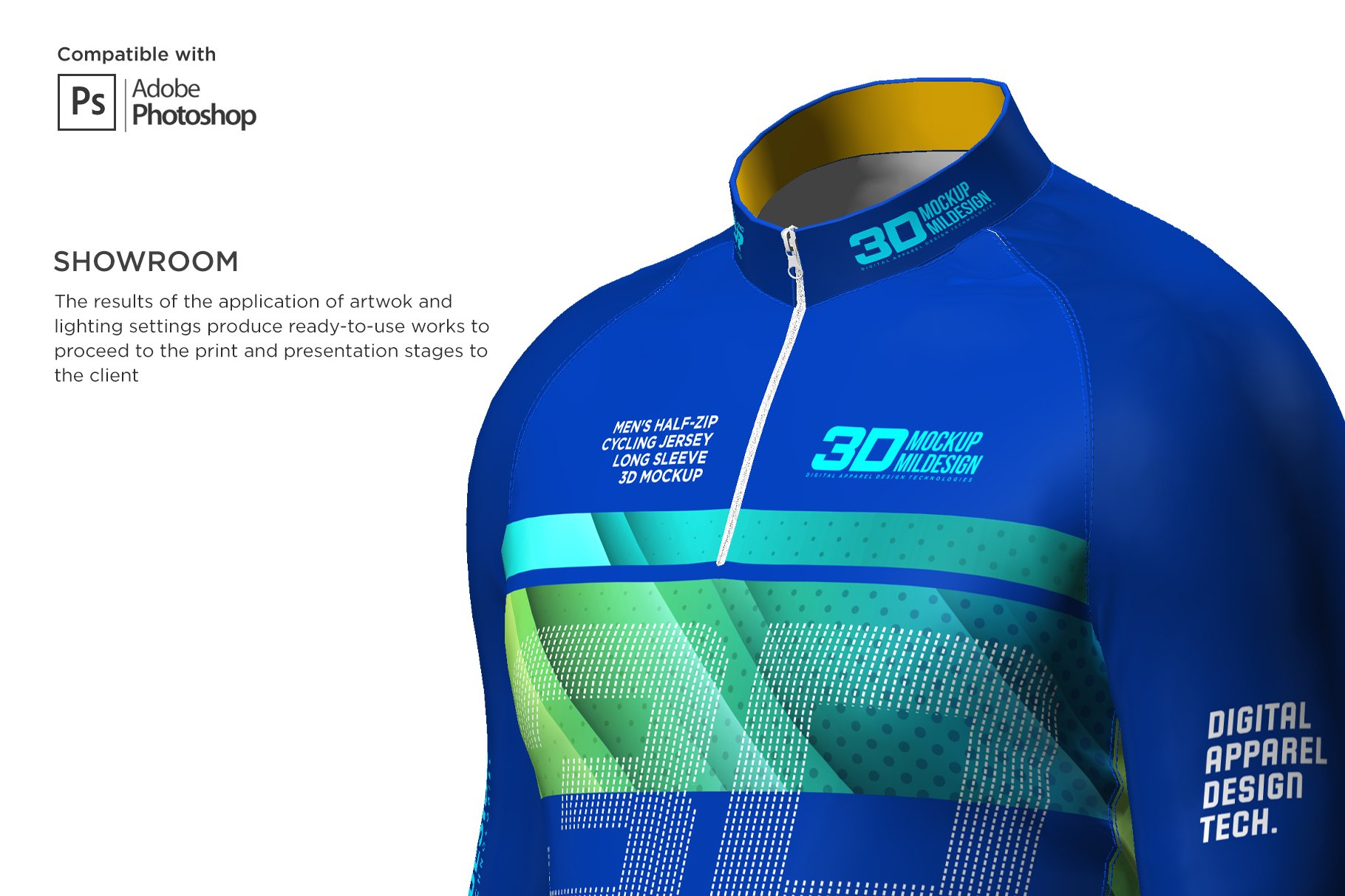 3D男士骑行服装印花图案设计展示贴图样机 3D Mens Cycling Jersey Half-zip LS插图5