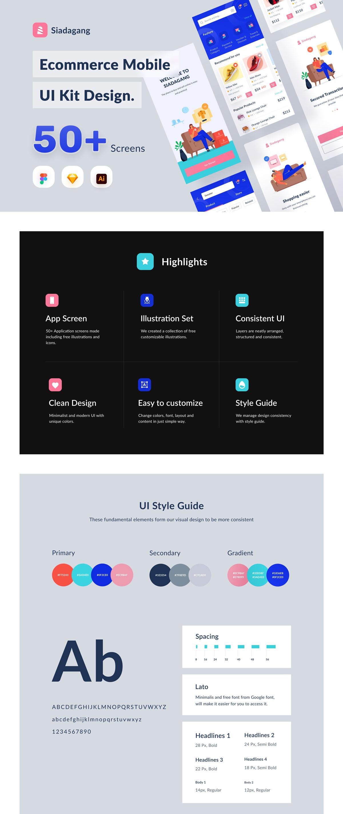 现代时尚电子商城购物APP应用程序界面设计UI套件 Siadagang Ecommerce UI kit插图