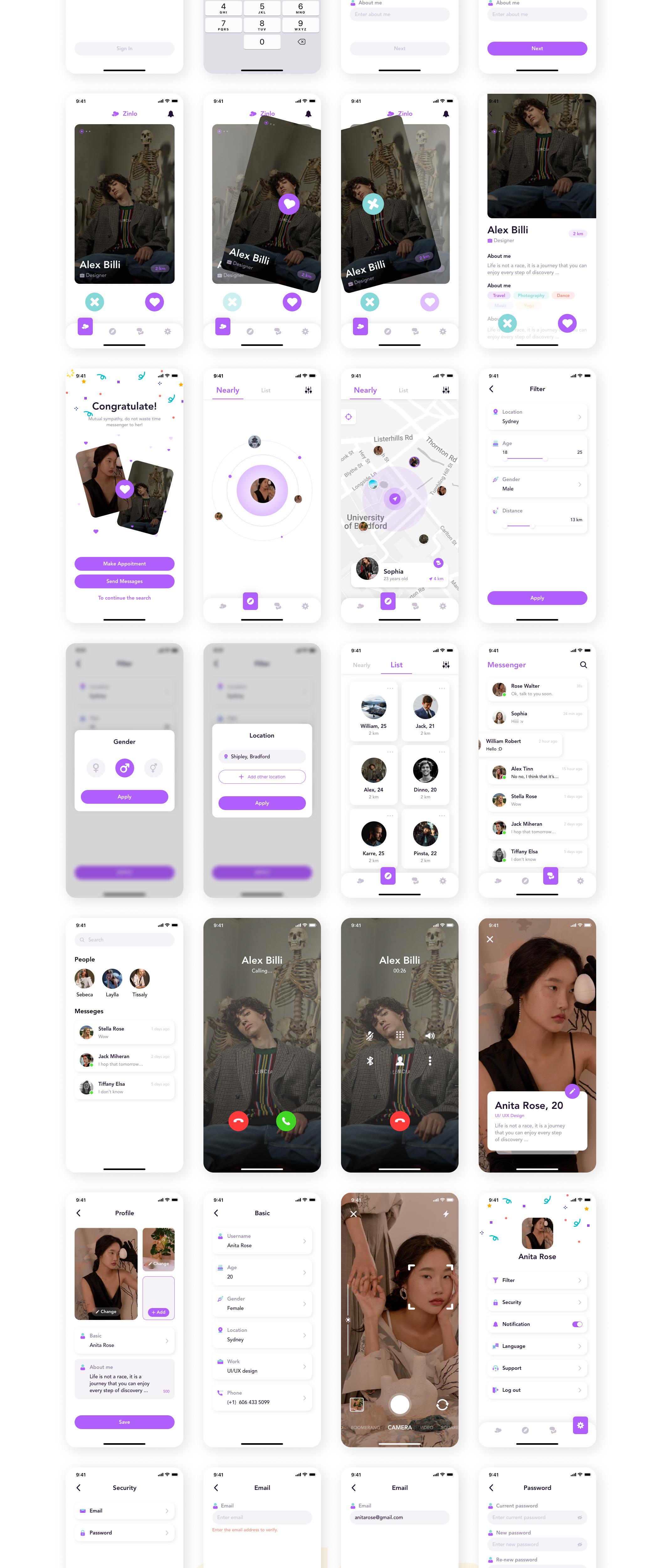 极简社交交友约会iOS APP界面设计UI套件 Zinlo – Dating App UI Kit插图1