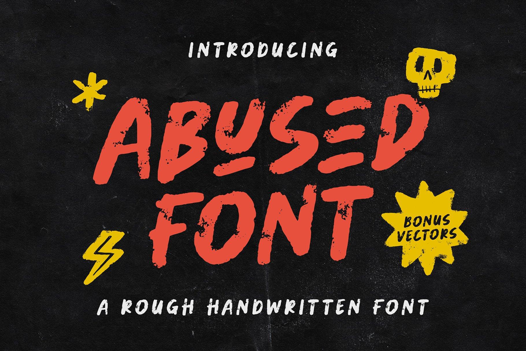 潮流粗糙手写杂志海报品牌Logo标题英文字体设计素材 Abused Font插图