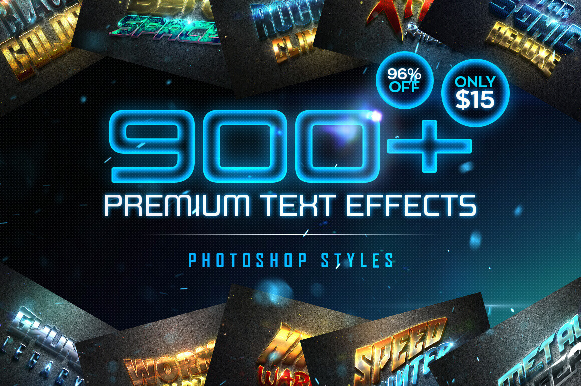 900多款3D立体金属质感标题Logo设计PS文字样式模板 900 Premium Photoshop Text Effects插图