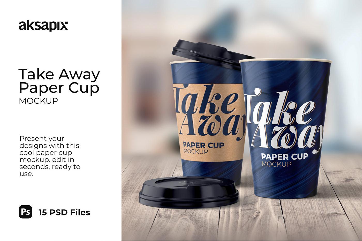 15款一次性外卖咖啡纸杯设计展示贴图样机模板 Take Away Paper Cup Mockup插图