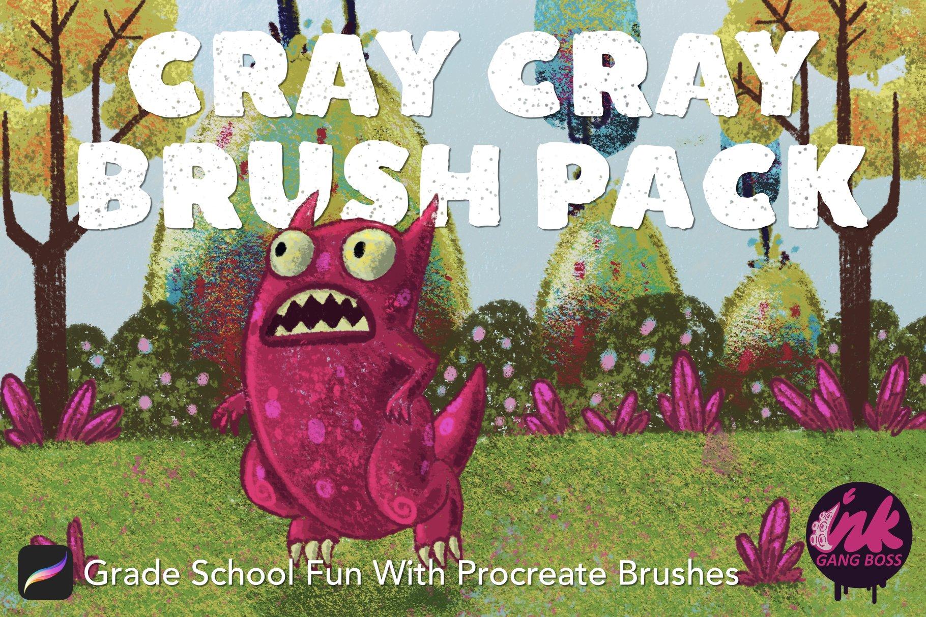 潮流粗糙漫画风蜡笔绘画效果Procreate笔刷套装 Procreate Cray Cray Brush Pack插图