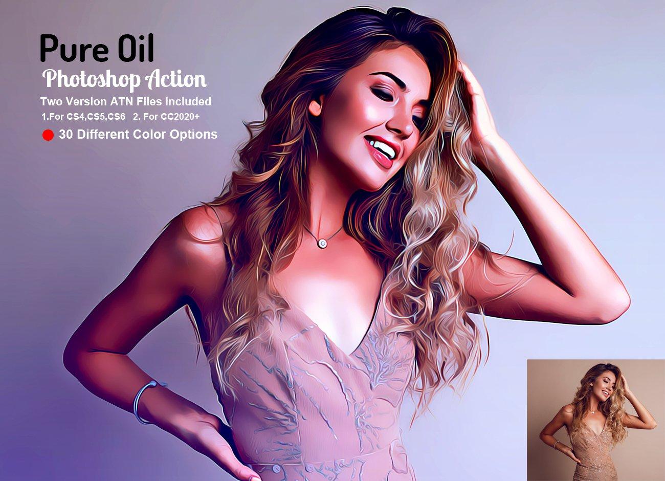 逼真油画效果照片处理滤镜PS动作模板素材 Pure Oil Photoshop Action插图