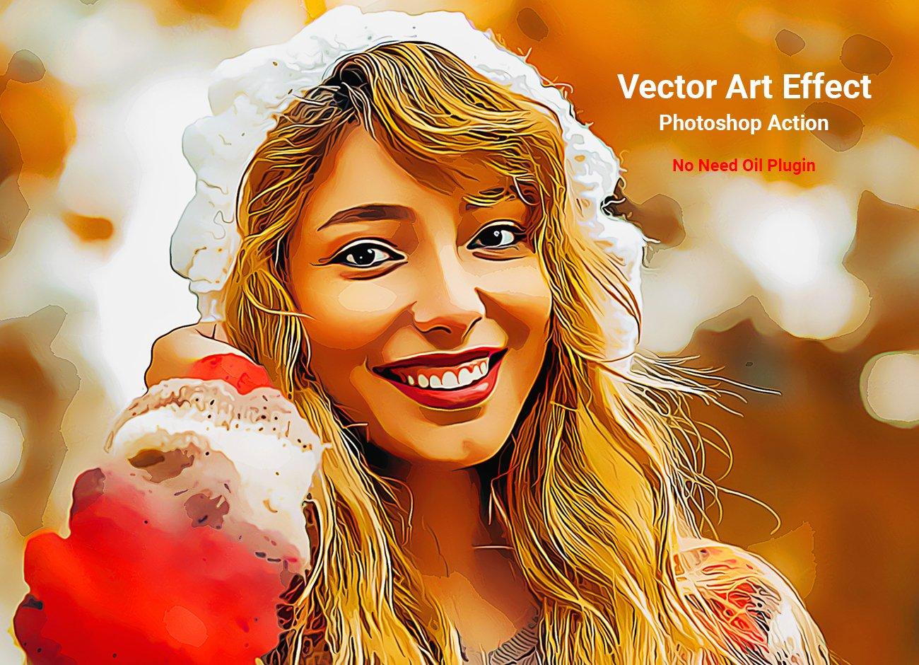 油画绘画效果照片处理特效PS动作模板 Vector Art Effect Photoshop Action插图