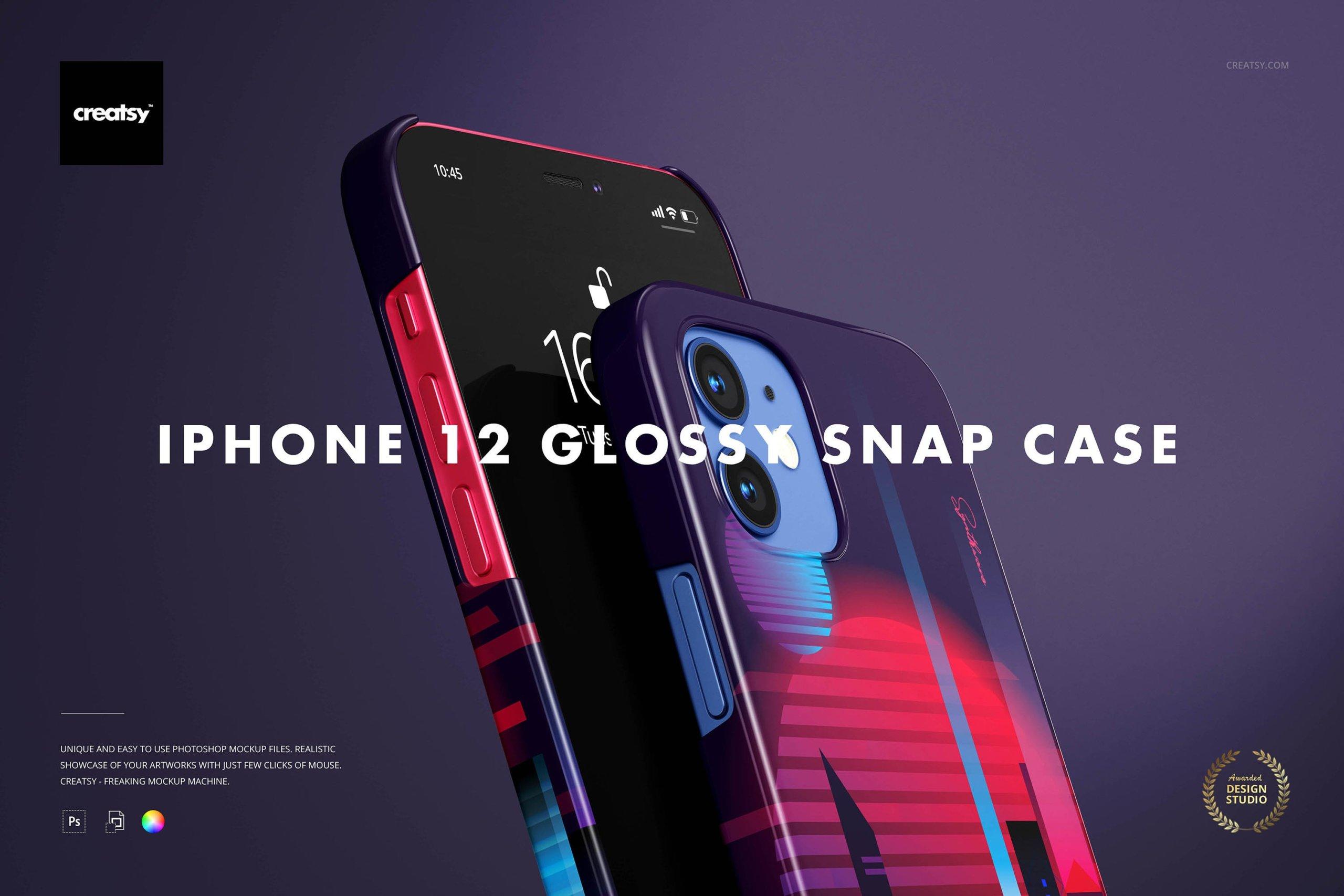 [单独购买] 26款时尚光滑苹果iPhone 12手机保护壳设计PS贴图样机模板素材 iPhone 12 Glossy Snap Case 1 Mockup插图