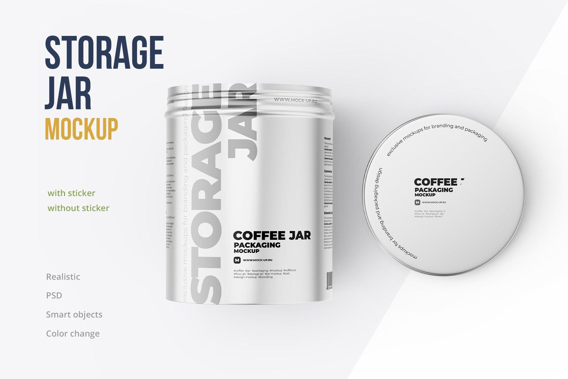 顶视图开盖茶叶零食金属罐标签设计展示贴图样机 Metallic Storage Open Jar. Top View插图