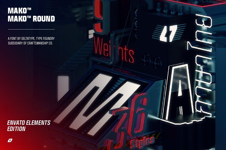 现代时尚科幻未来海报标题Logo无衬线英文字体素材 Mako (Elements Edition)插图