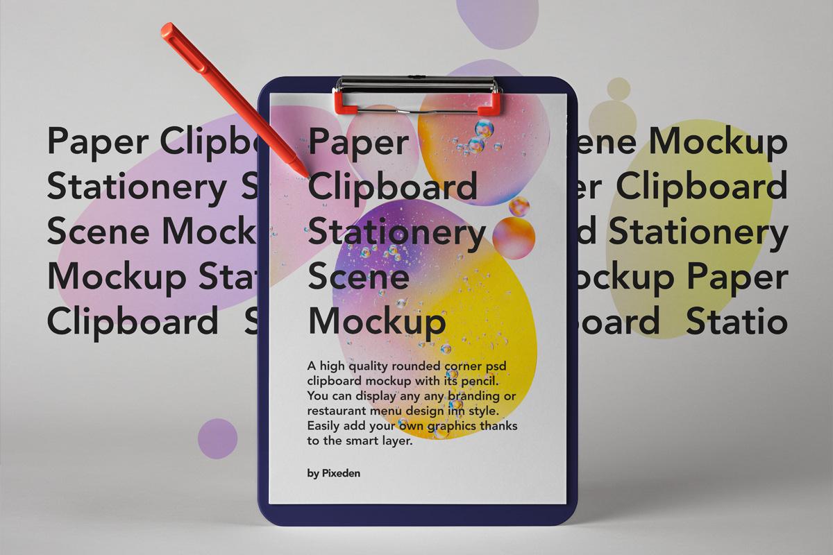 优雅办公餐厅菜单剪贴板设计PSD样机模板 Paper Clipboard Psd Mockup Scene插图