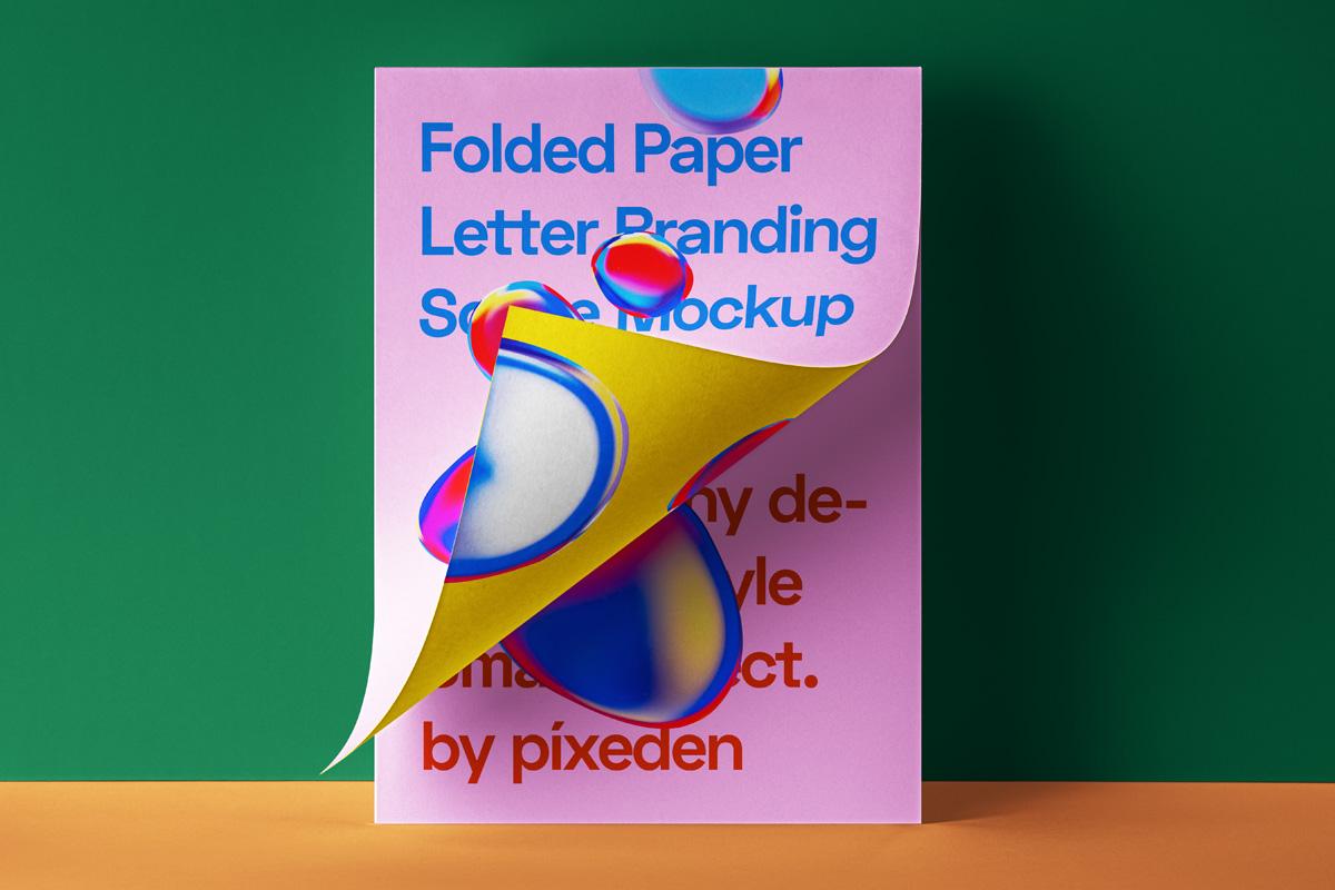 折叠海报传单设计展示贴图PSD样机模板 Folded Letter Psd Paper Mockup插图
