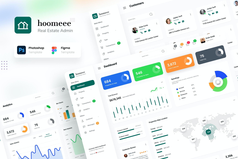 房地产中介后台管理仪表盘UI界面设计套件 Hoomeee – Real Estate Admin Dashboard Template插图