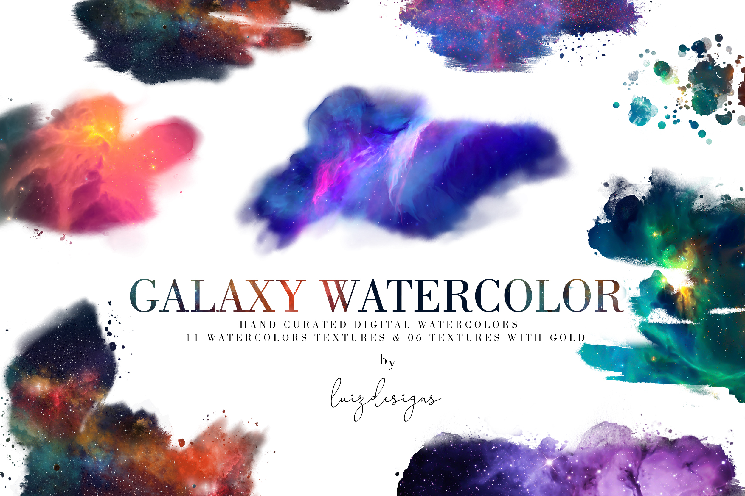 炫彩星云星系宇宙空间水墨背景图片设计素材 Galaxy Watercolor插图