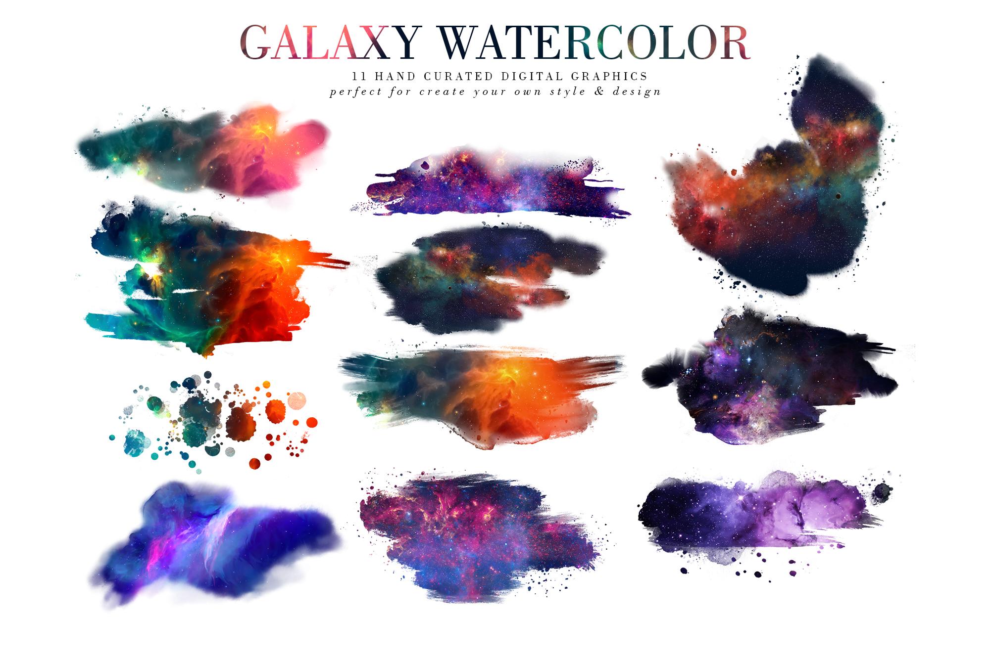 炫彩星云星系宇宙空间水墨背景图片设计素材 Galaxy Watercolor插图1