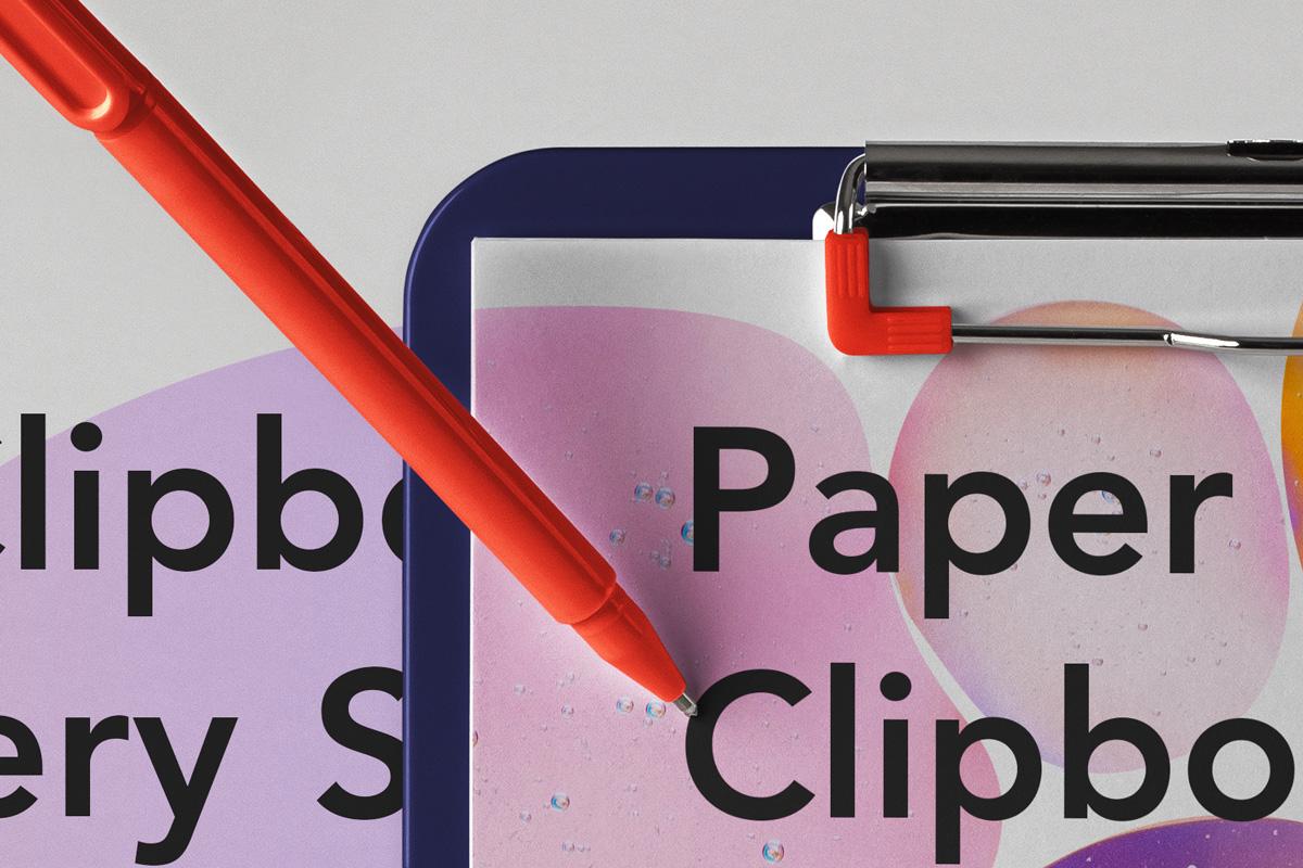 优雅办公餐厅菜单剪贴板设计PSD样机模板 Paper Clipboard Psd Mockup Scene插图1