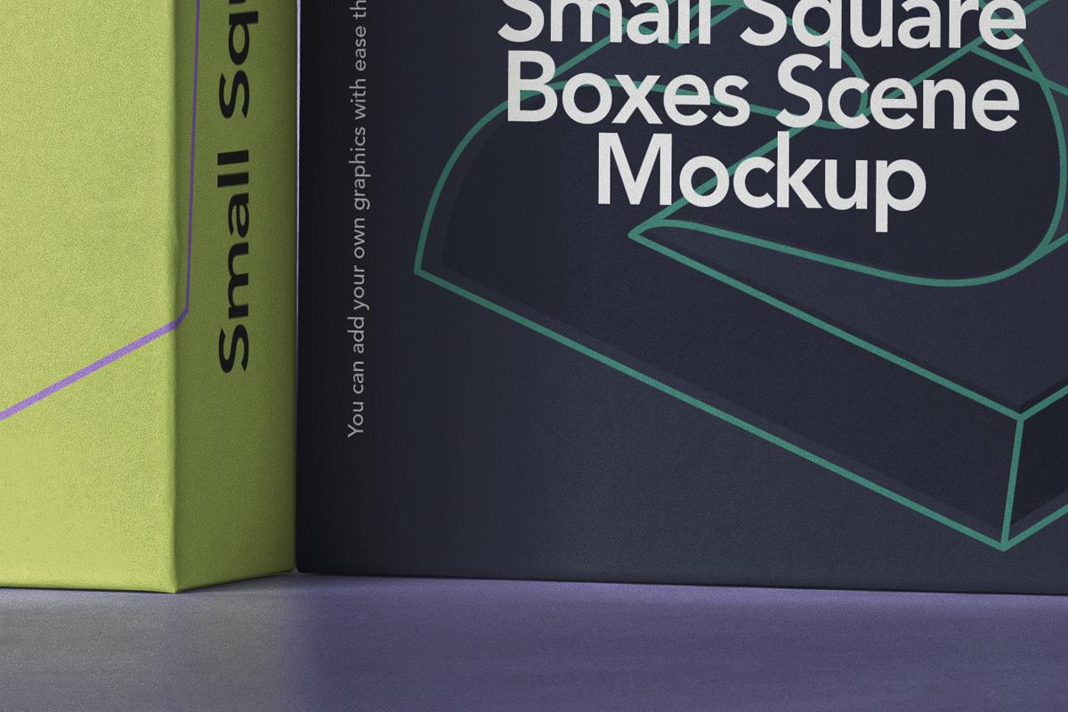 方形产品包装纸盒设计PSD样机合集 Small Psd Square Box Mockup Set插图1