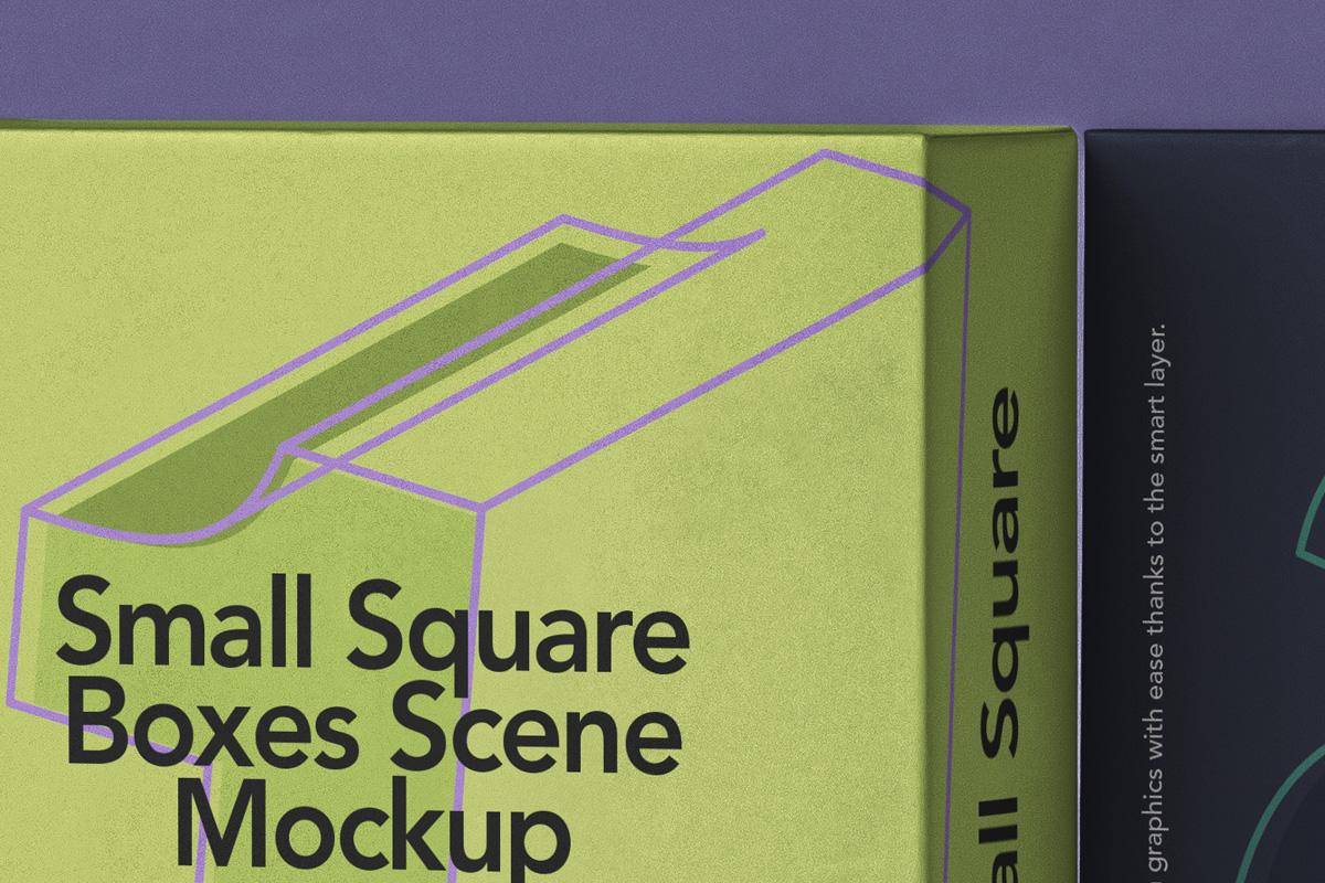方形产品包装纸盒设计PSD样机合集 Small Psd Square Box Mockup Set插图2