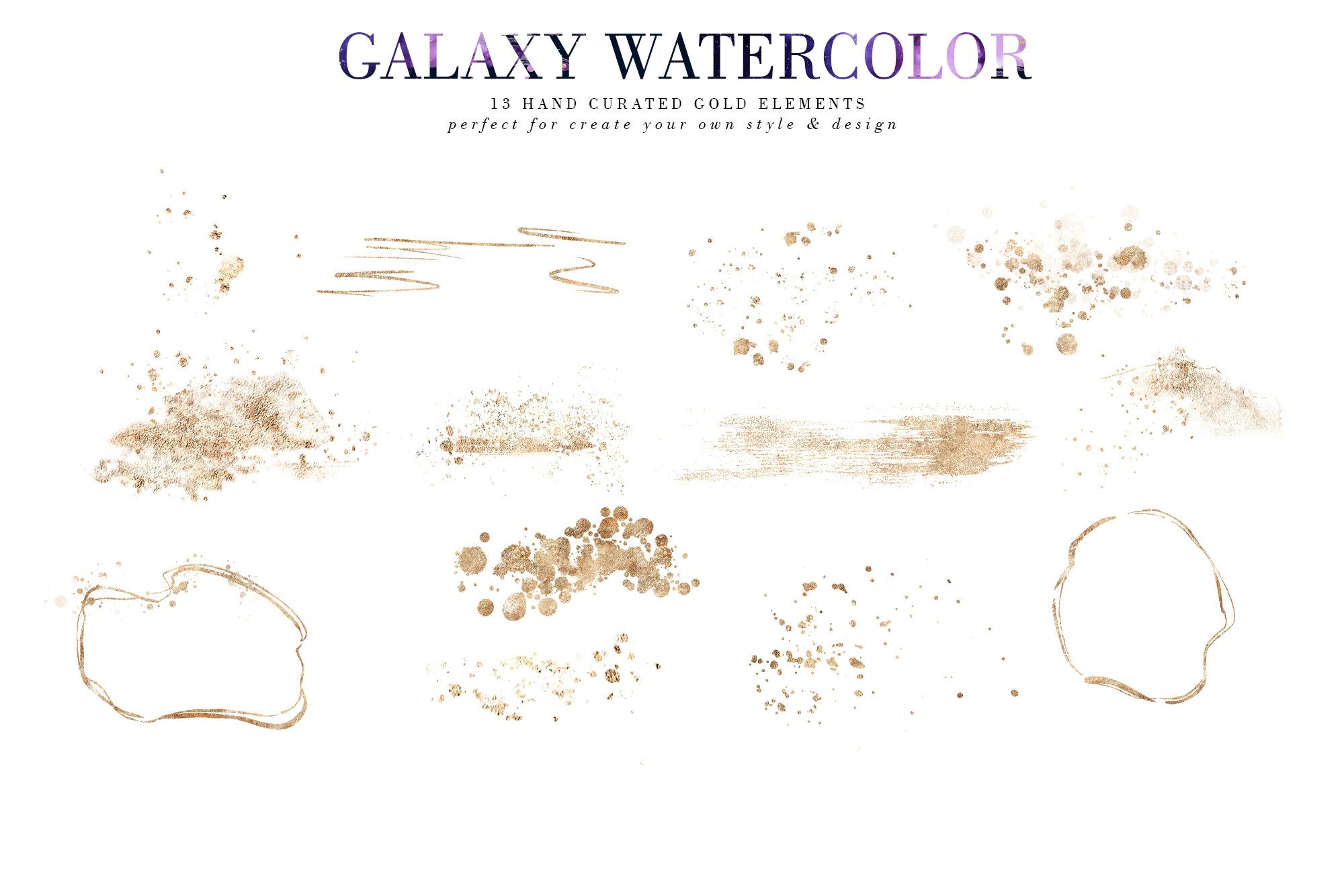 炫彩星云星系宇宙空间水墨背景图片设计素材 Galaxy Watercolor插图3