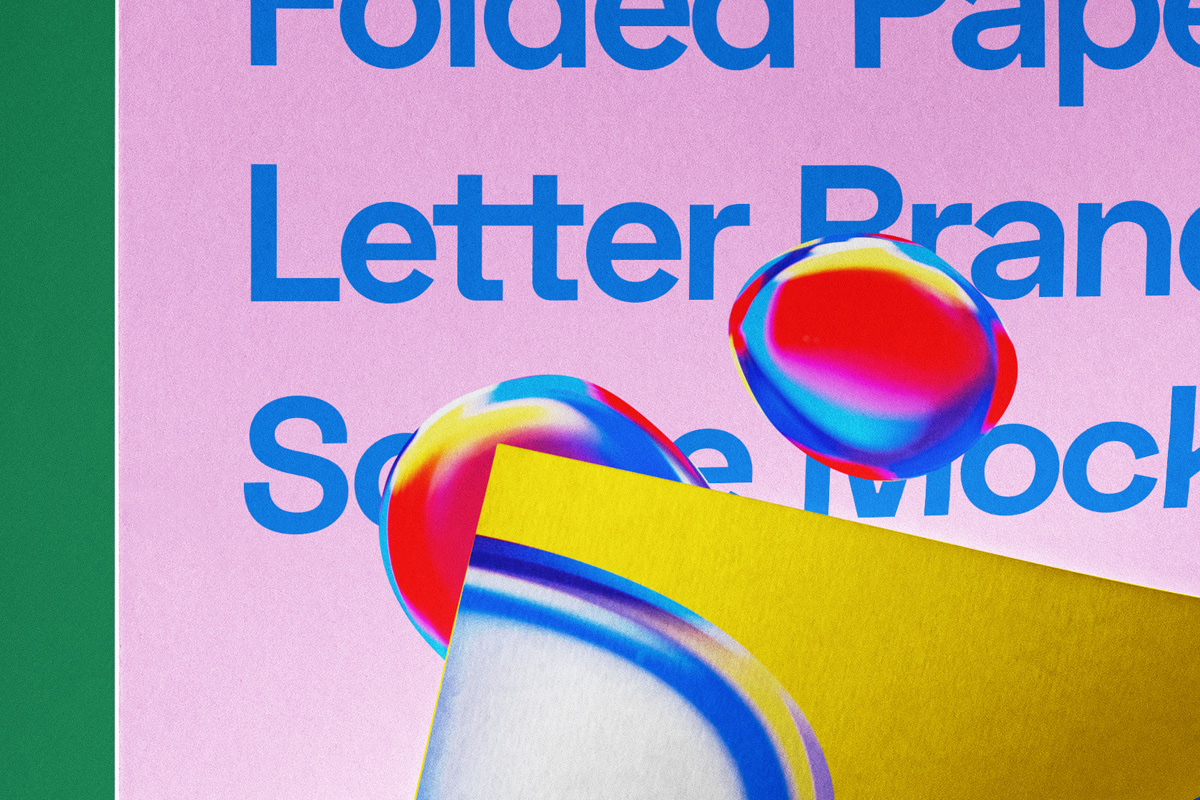 折叠海报传单设计展示贴图PSD样机模板 Folded Letter Psd Paper Mockup插图3