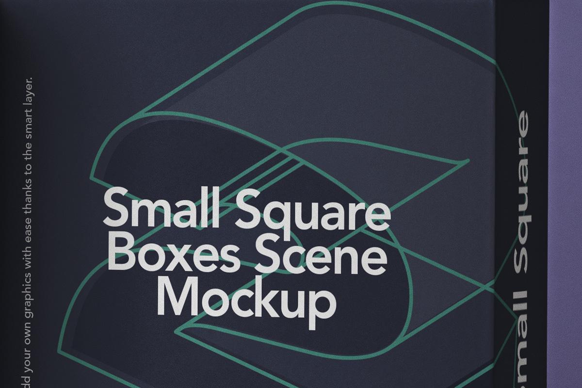 方形产品包装纸盒设计PSD样机合集 Small Psd Square Box Mockup Set插图3