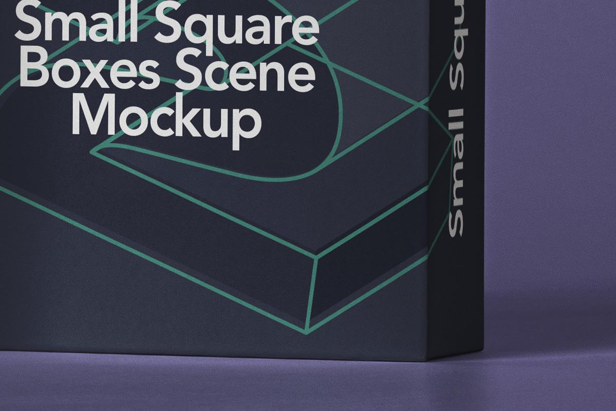 方形产品包装纸盒设计PSD样机合集 Small Psd Square Box Mockup Set插图4