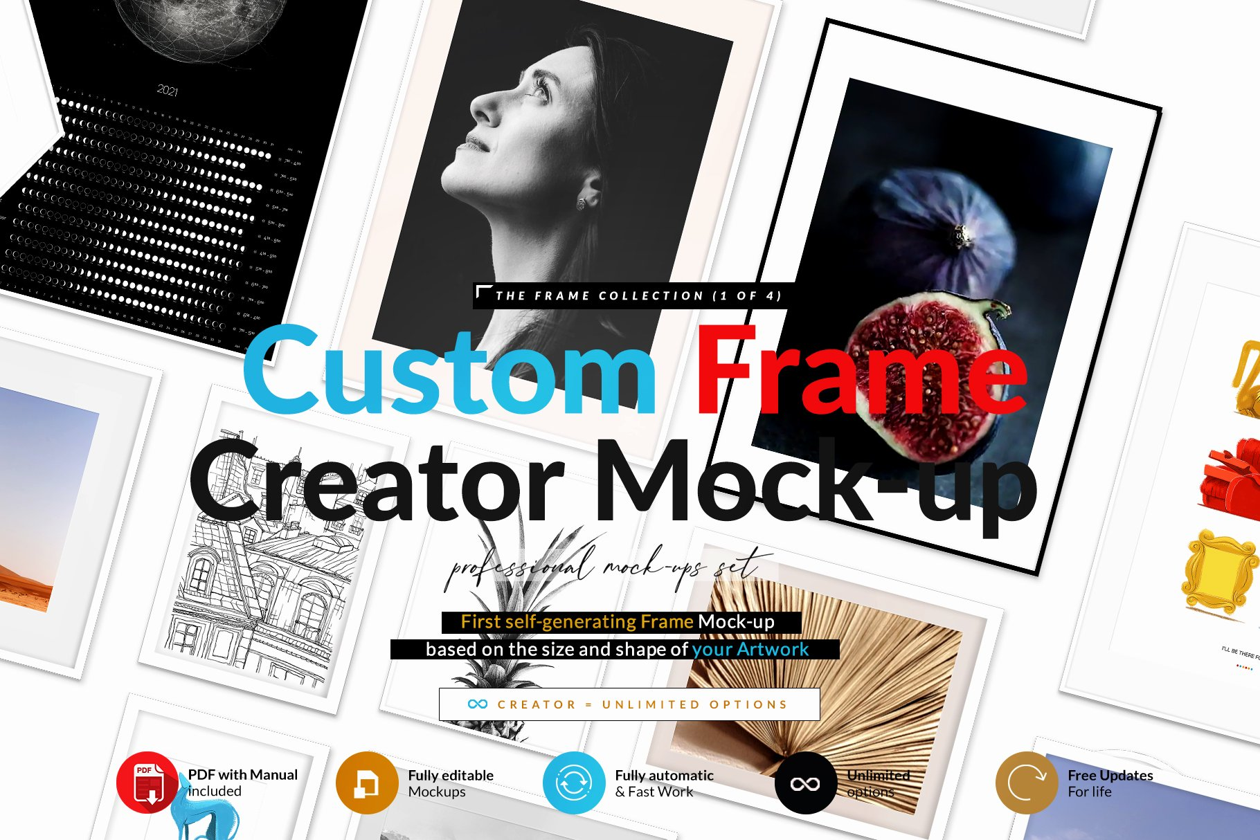 时尚绘画艺术品相片展示相框框架样机模板 Automatic Frame Mock-up Creator插图