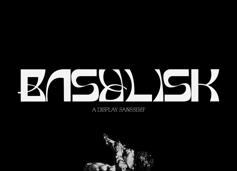 时尚潮流弯曲杂志海报标题徽标Logo文字设计无衬线英文字体 Basylisk Typeface插图