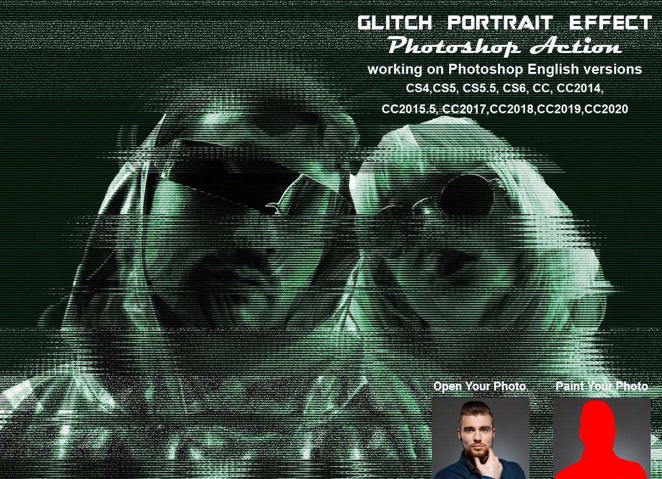 潮流故障风人像照片处理特效PS动作模板 Glitch Portrait Effect PS Action插图