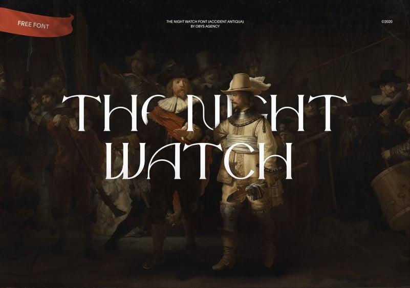 经典优雅杂志海报标题徽标Logo设计衬线英文字体素材 The Night Watch Font插图
