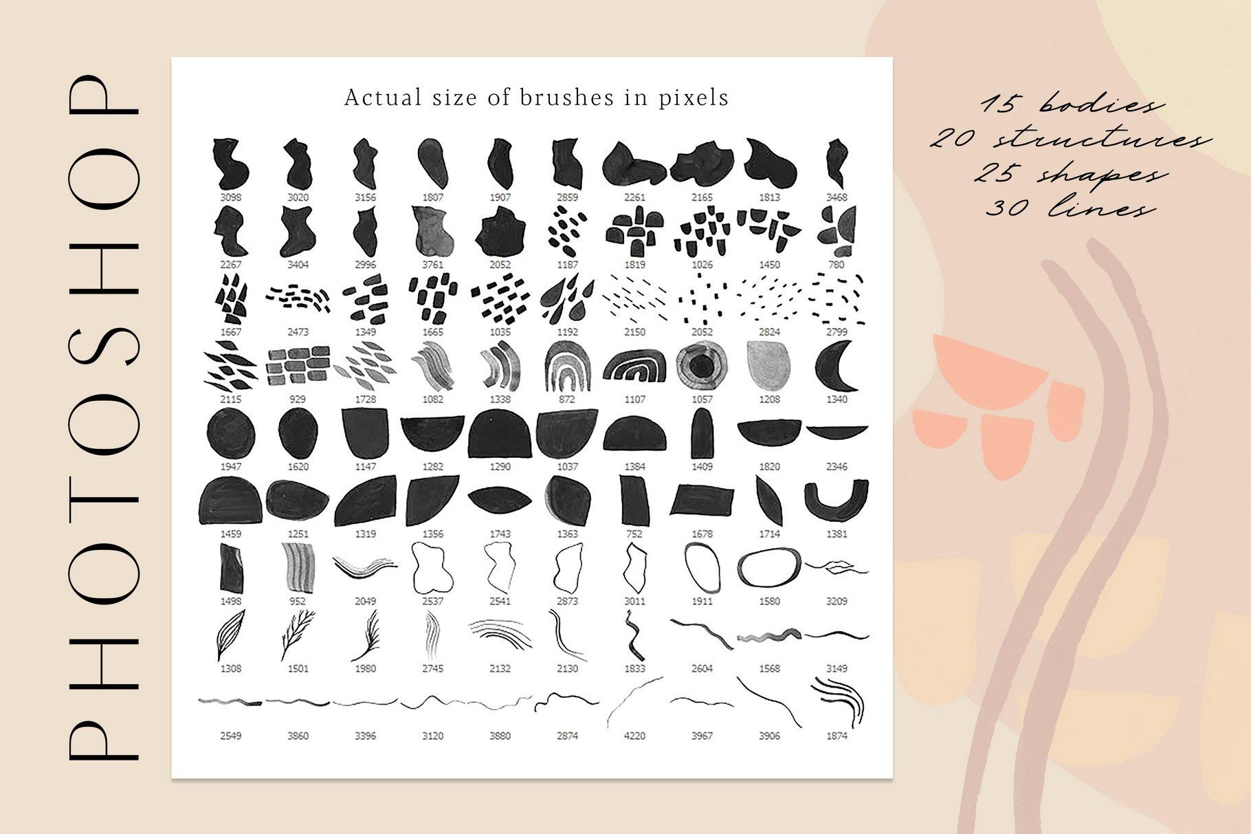 775款艺术气息水彩水墨丙烯酸绘画效果PS图章笔刷素材 Photoshop Stamp Brushes Bundle 2020插图3
