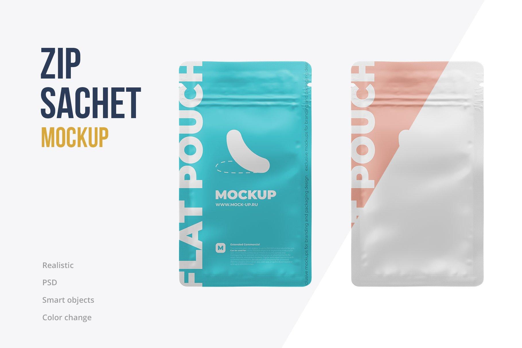简洁香料自封塑料袋设计展示贴图样机 Zip Sachet Mockup. Flat Empty Pouch插图