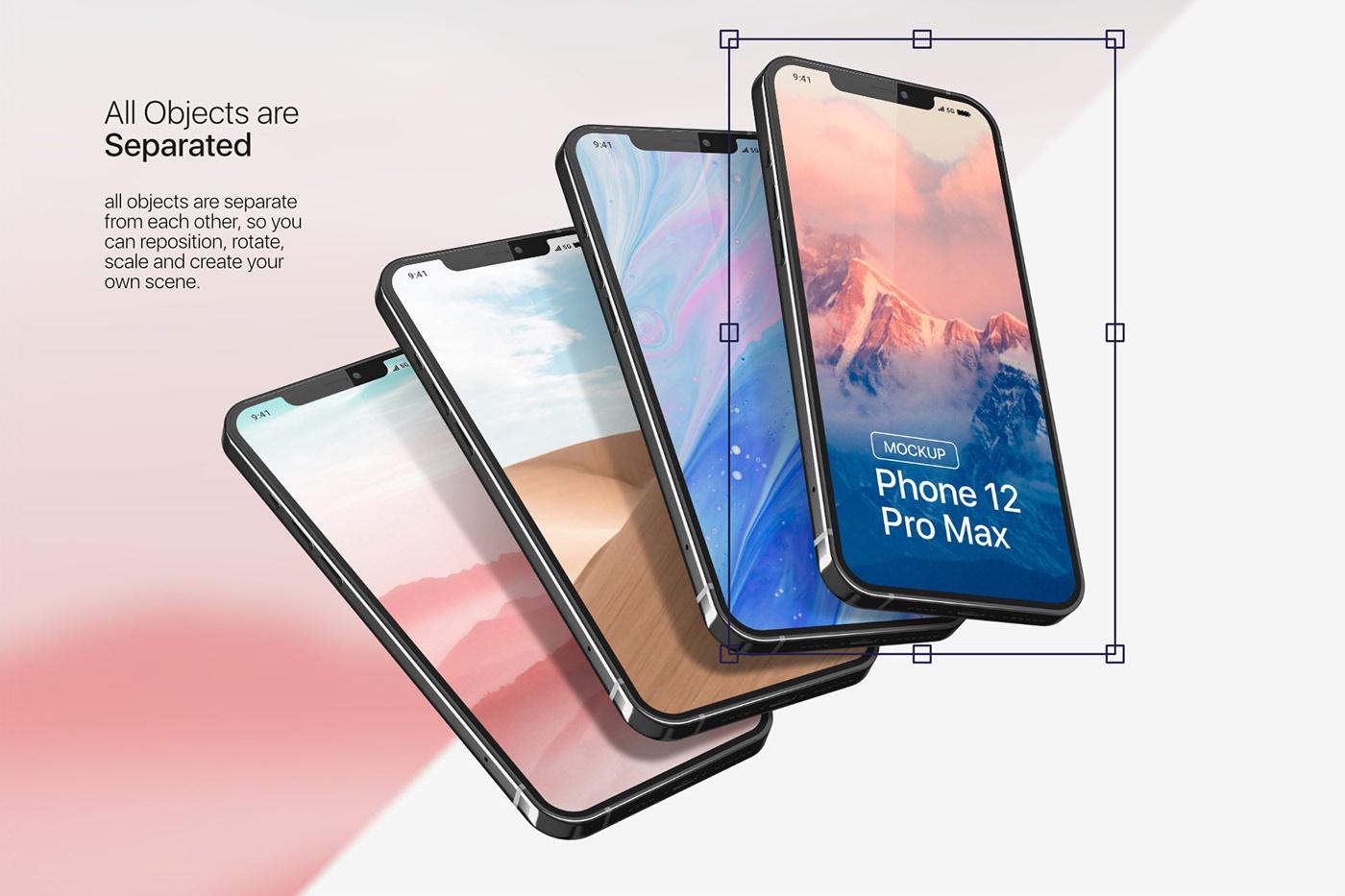 20款时尚苹果iPhone 12 Pro手机APP应用设计屏幕演示样机模板 iPhone 12 Pro Max Mockup插图1