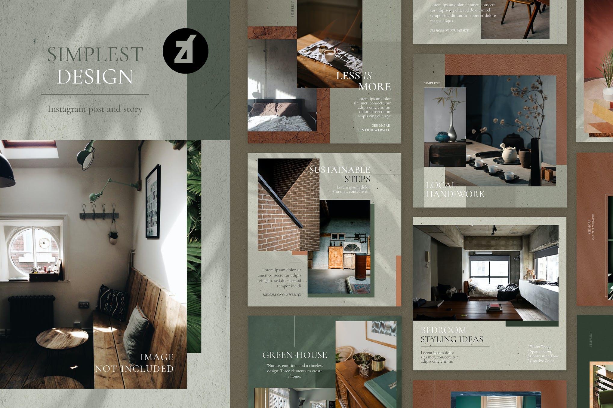 现代时尚室内家居设计作品集推广新媒体电商海报模板 The Simplest Social Media Graphic Templates插图