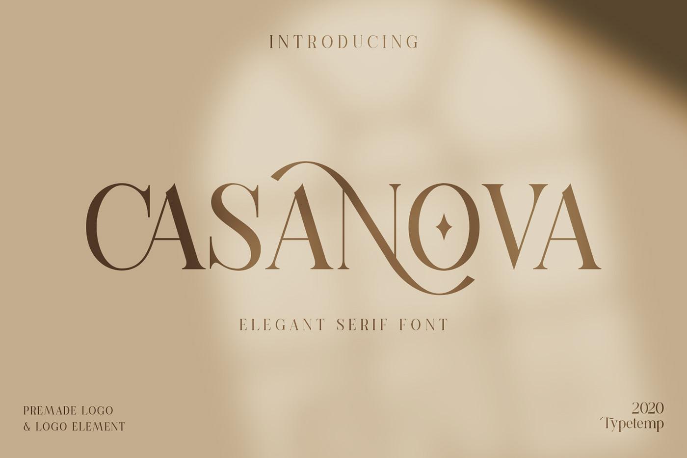 现代时尚连字海报标题徽标Logo设计衬线英文字体素材 Casanova Serif Display Font插图