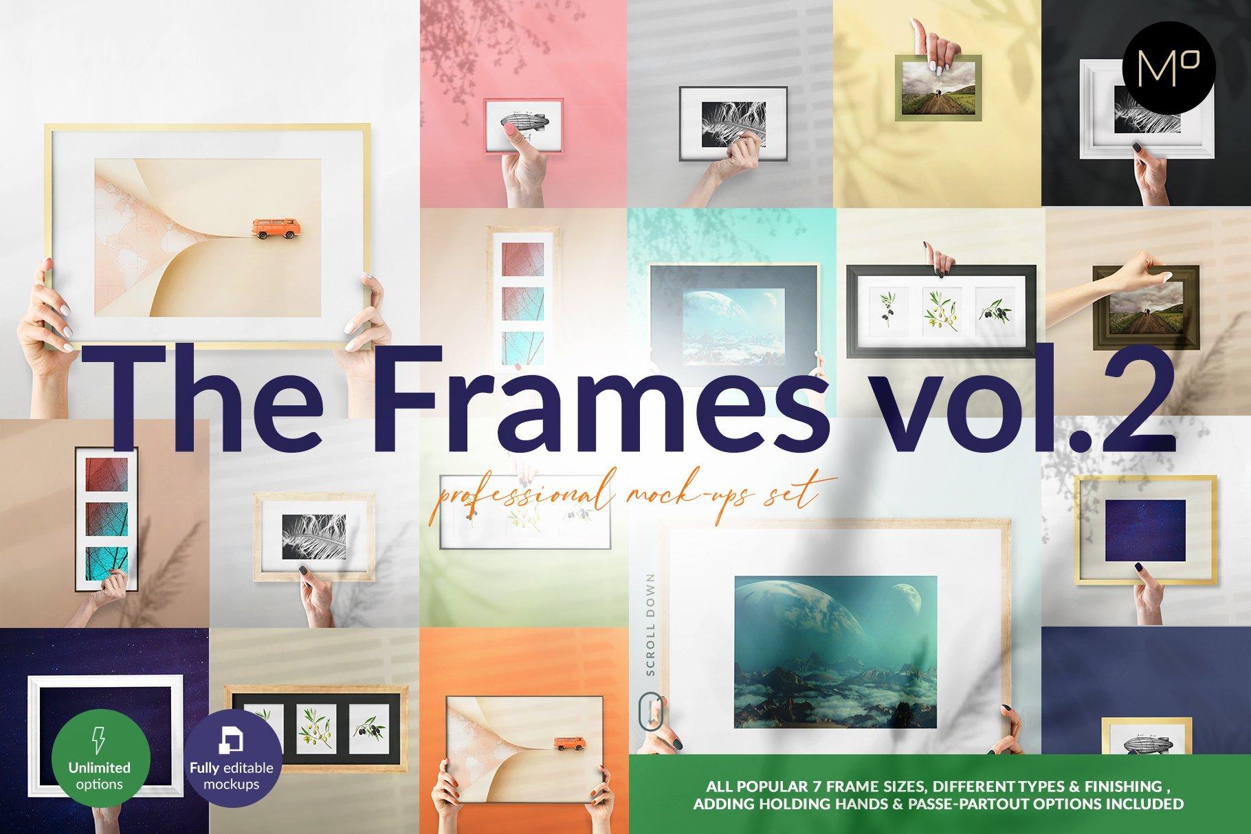 流行海报相片设计展示手持相框镜框PS贴图样机合集 The Frames vol.2 Mockups Set插图