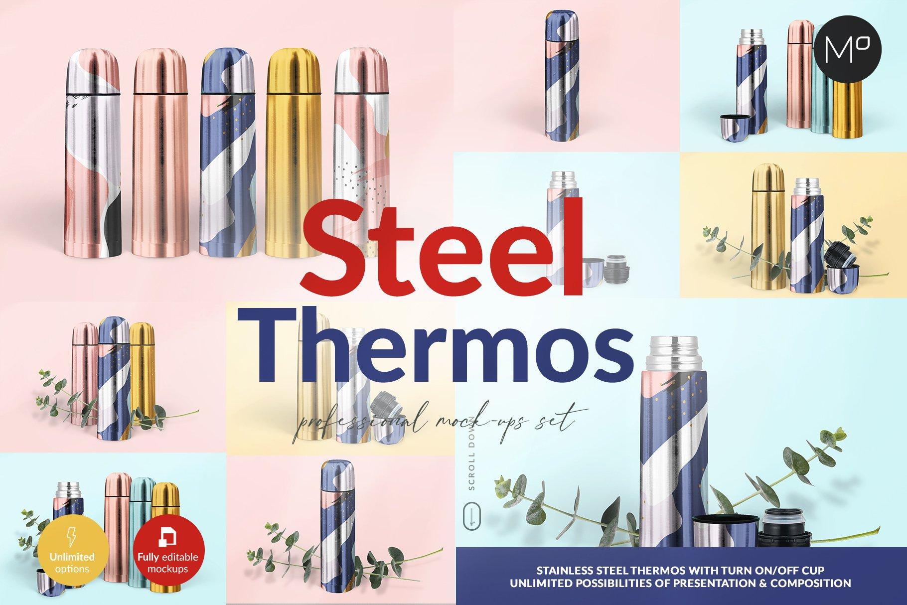 金属不锈钢保温壶设计展示贴图样机模板 Steel Thermos Mock-ups插图