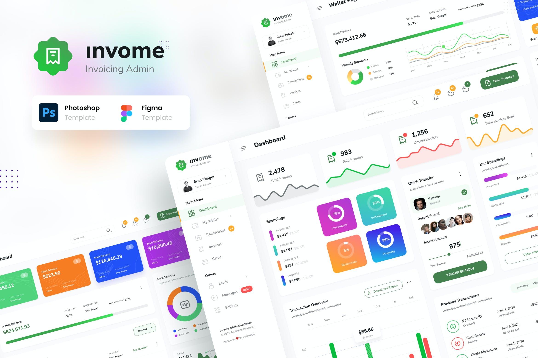 财务管理开票后台仪表盘UI界面设计模板 Invome – Invoicing Admin Dashboard Template插图