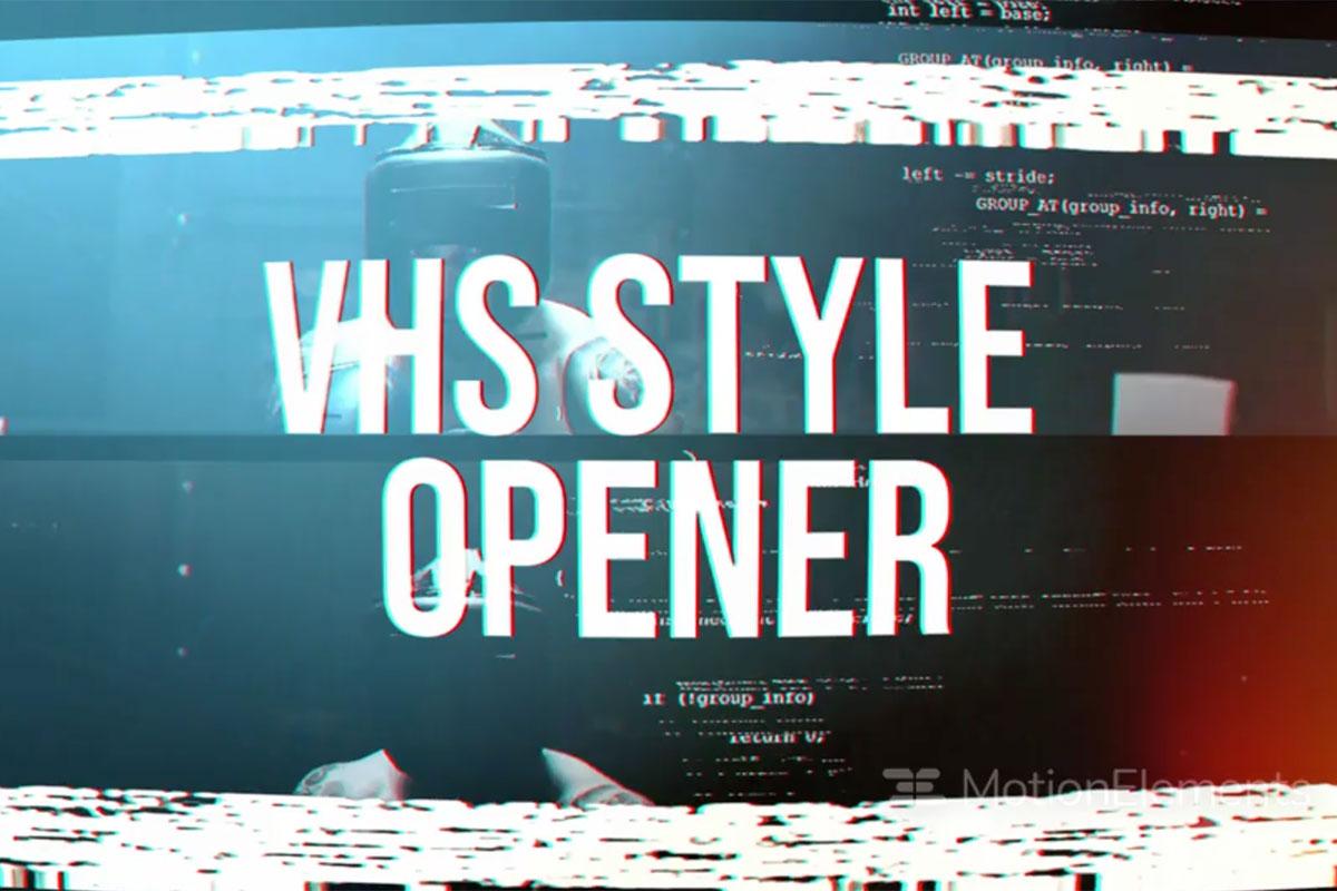 潮流像素故障风标题徽标Logo设计AE视频模板素材 VHS Style Opener插图