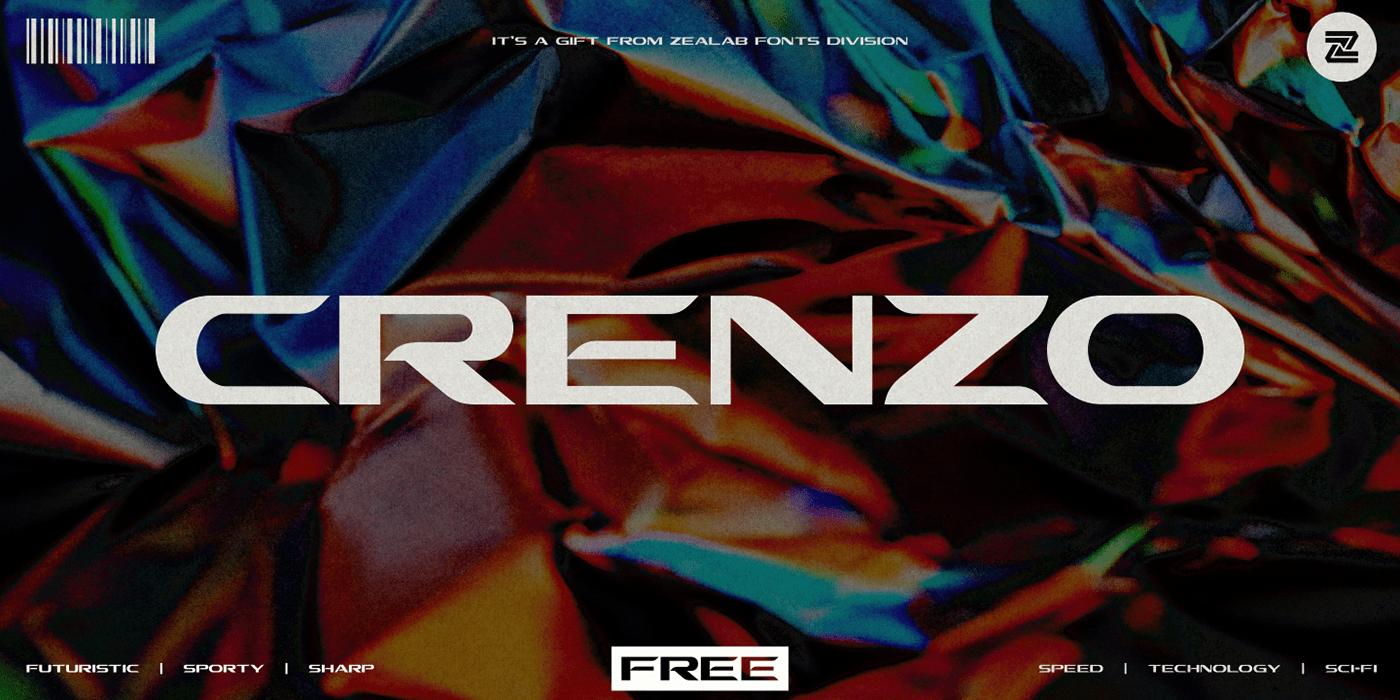 现代时尚未来派标题徽标Logo文字设计无衬线英文字体素材 Crenzo – Sans Serif Font插图