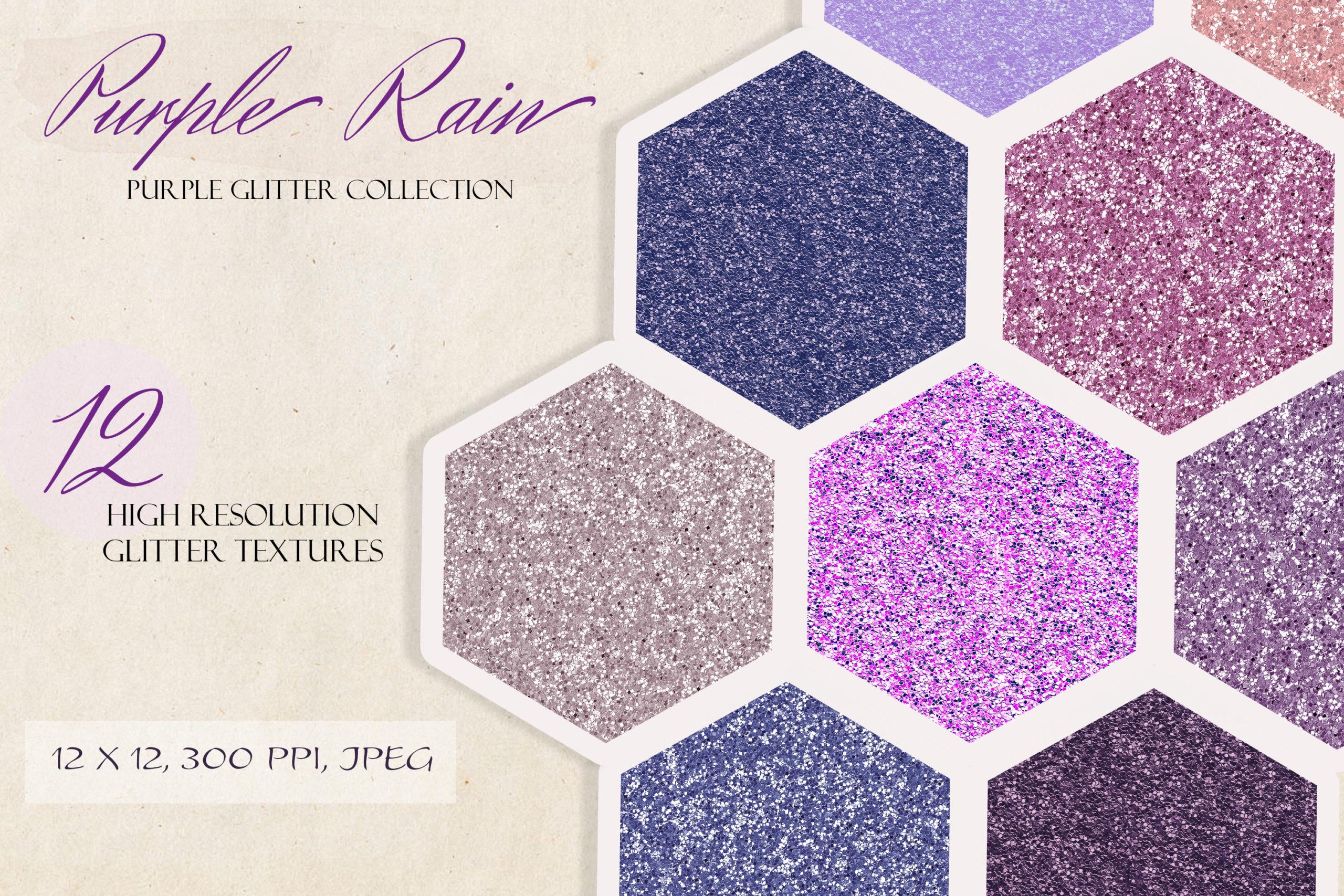 12款紫色闪光贴纸纹理背景图片素材 Purple Rain Glitter Texture Pack插图