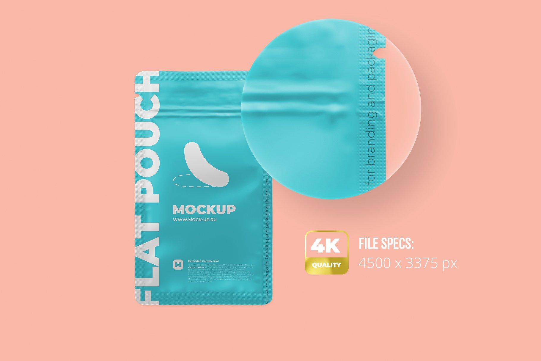 简洁香料自封塑料袋设计展示贴图样机 Zip Sachet Mockup. Flat Empty Pouch插图1
