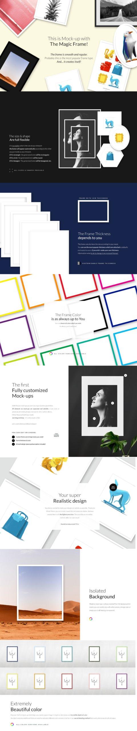 时尚绘画艺术品相片展示相框框架样机模板 Automatic Frame Mock-up Creator插图1