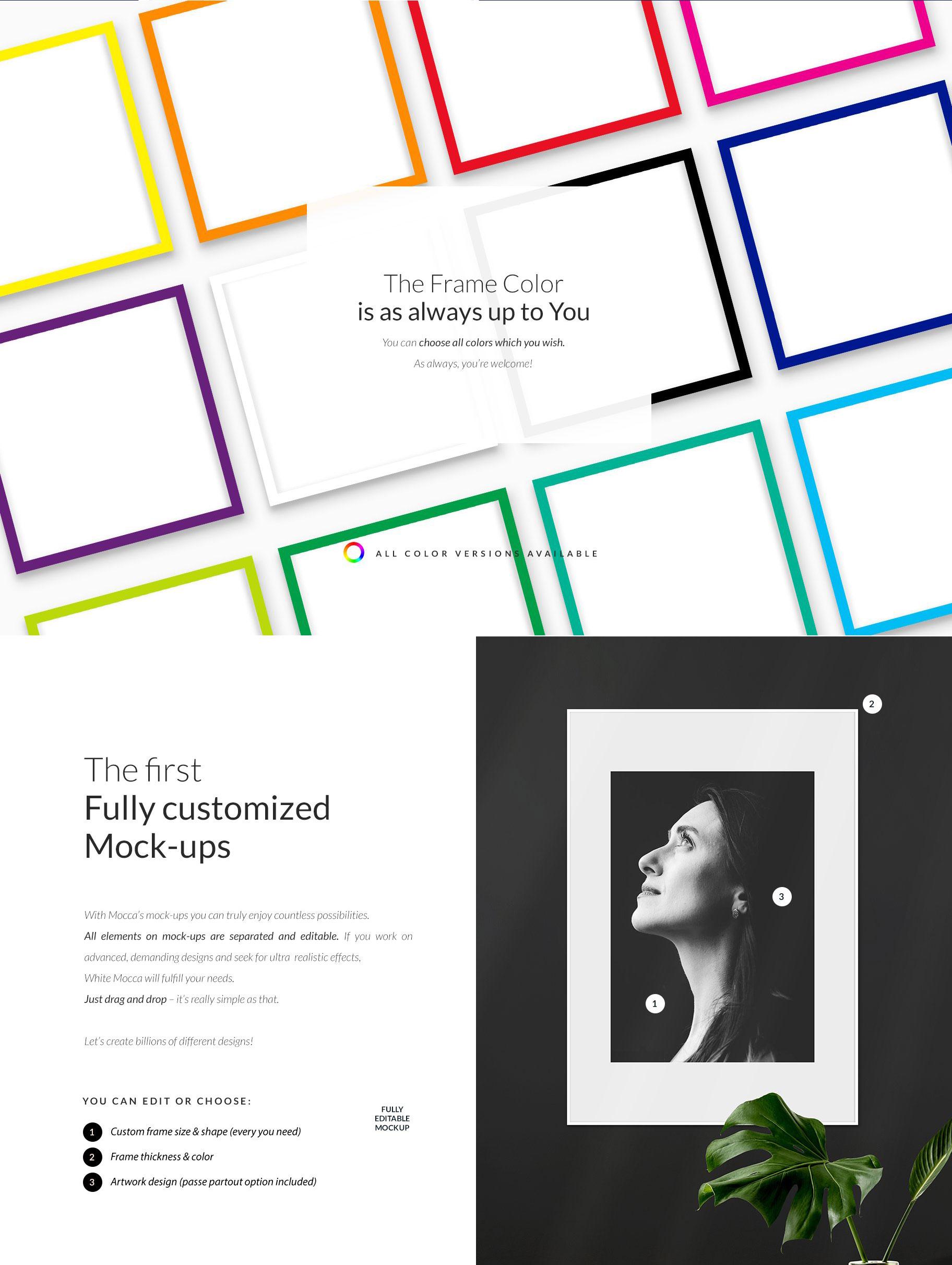时尚绘画艺术品相片展示相框框架样机模板 Automatic Frame Mock-up Creator插图2