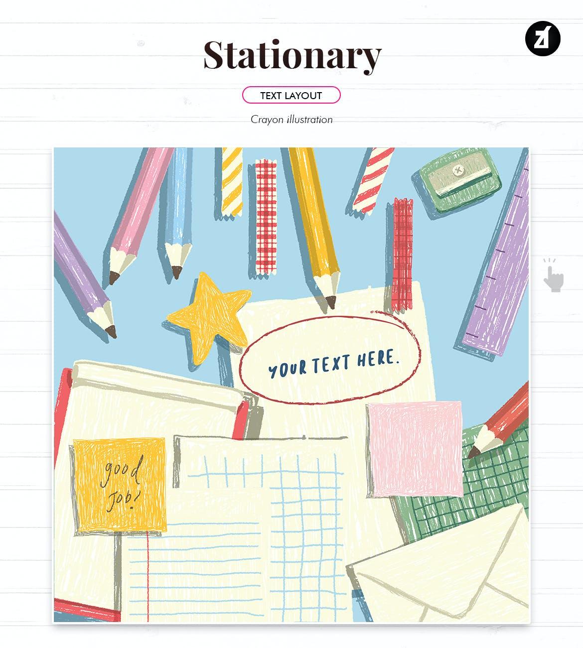 蜡笔绘画效果矢量背景设计素材 Stationary Illustration With Text Layout插图1