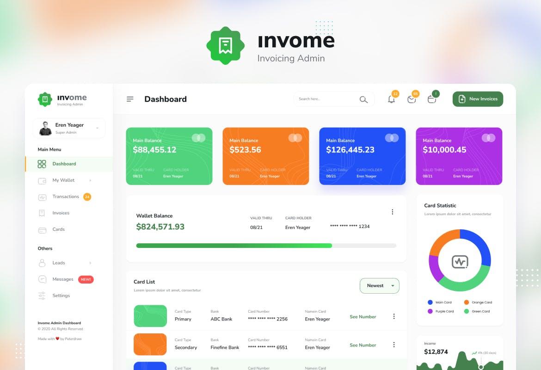 财务管理开票后台仪表盘UI界面设计模板 Invome – Invoicing Admin Dashboard Template插图1