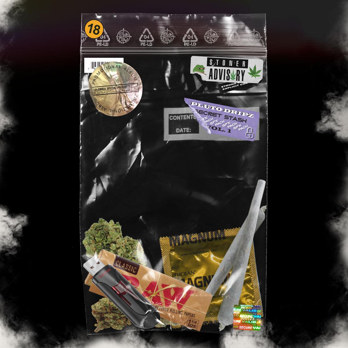 [单独购买] 256款潮流镭射专辑CD封面贴纸塑料膜故障纹理背景图片设计素材套装 Pluto Dripz – Secret Stash Vol. 1 (GFX Pack)插图