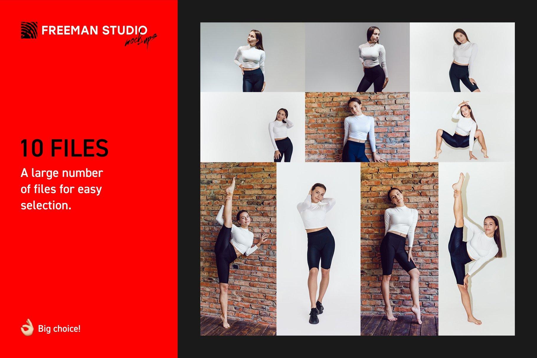 10款女式长袖短裤运动上衣印花图案设计PS贴图样机 Stretching Longsleeve Mockup Set插图1