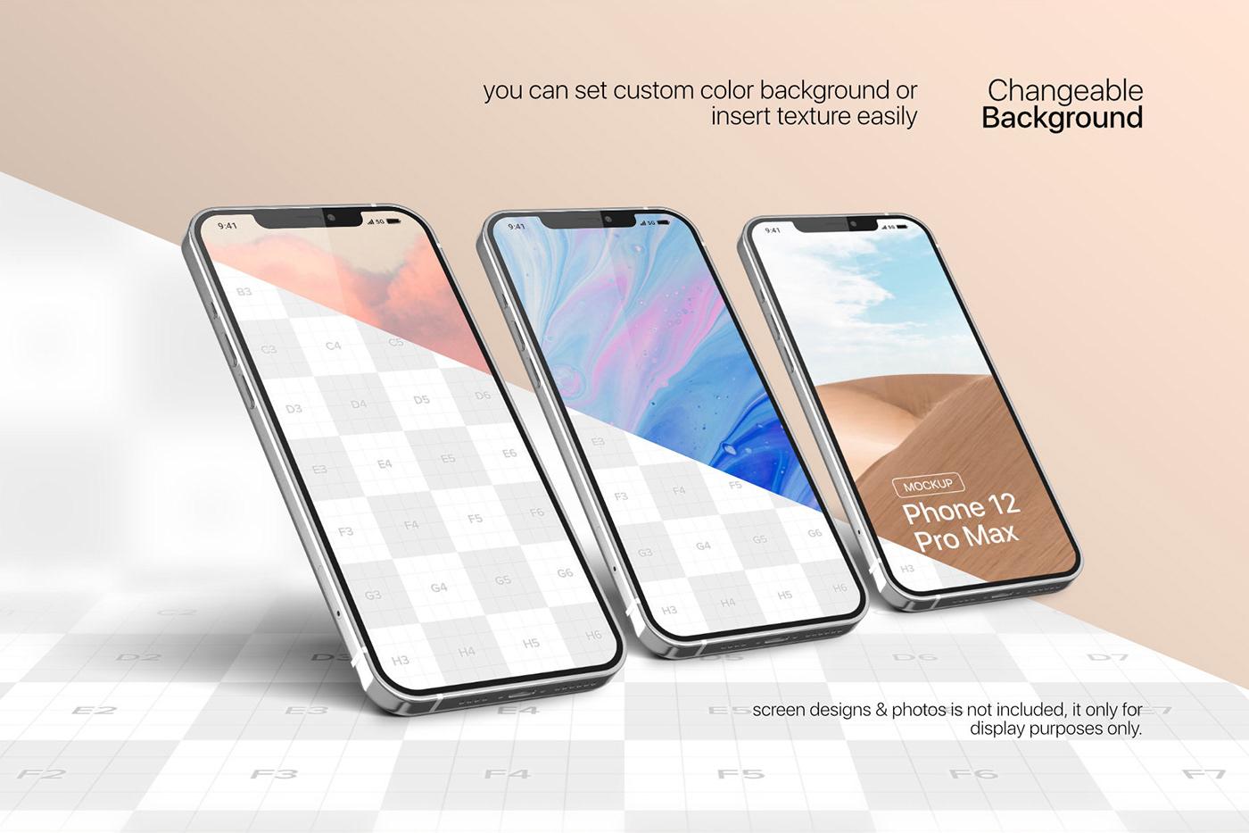 20款时尚苹果iPhone 12 Pro手机APP应用设计屏幕演示样机模板 iPhone 12 Pro Max Mockup插图2