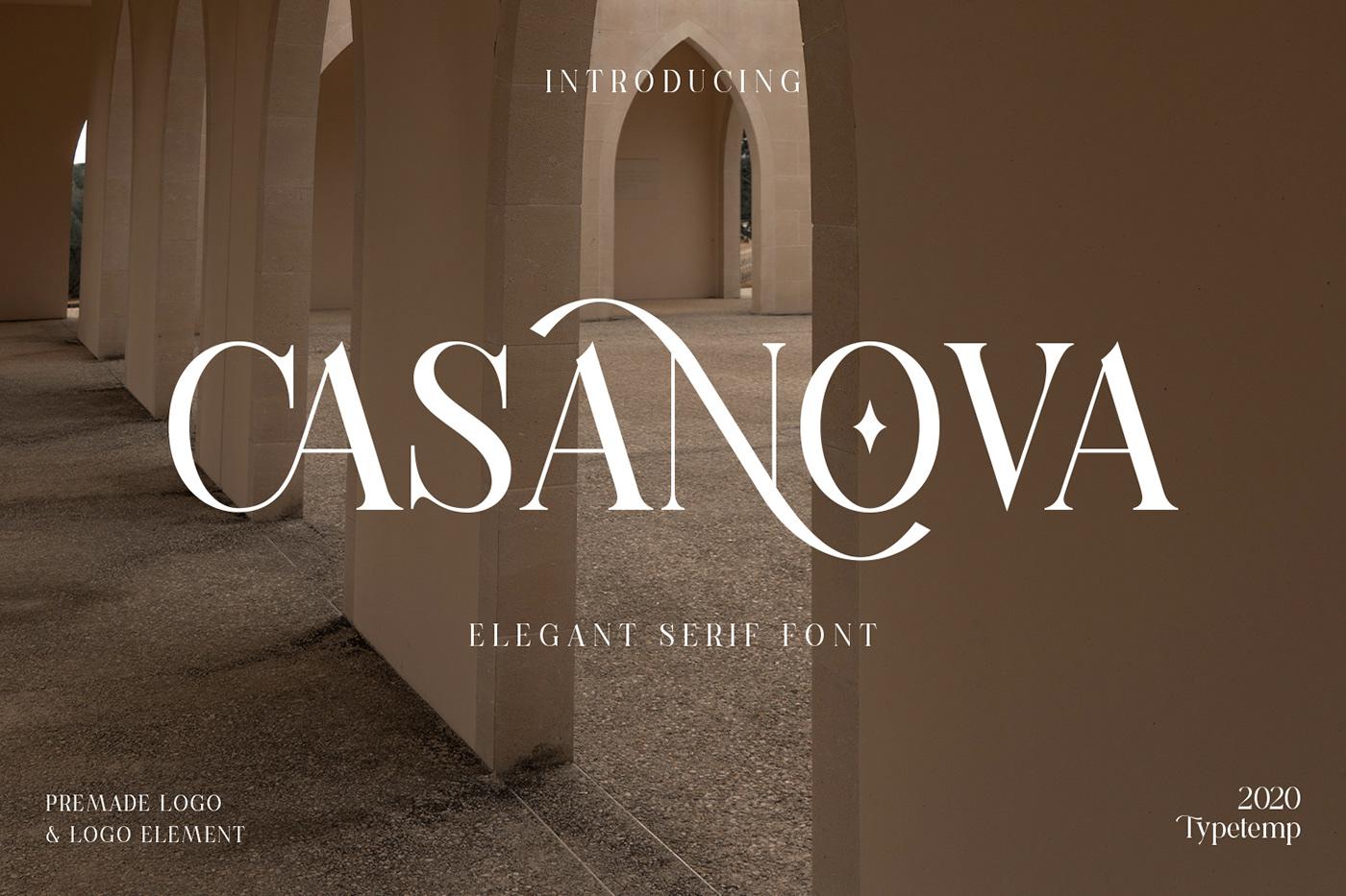 现代时尚连字海报标题徽标Logo设计衬线英文字体素材 Casanova Serif Display Font插图1