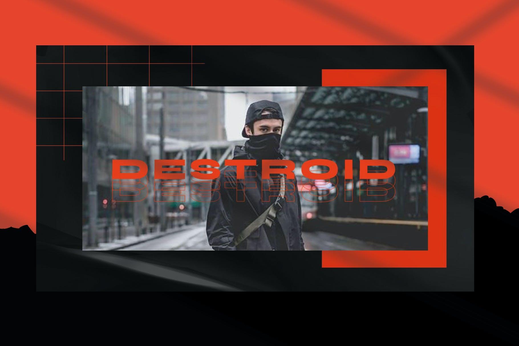 潮流街头潮牌服装推广PPT幻灯片设计模板 Destroid – Keynote Template插图1