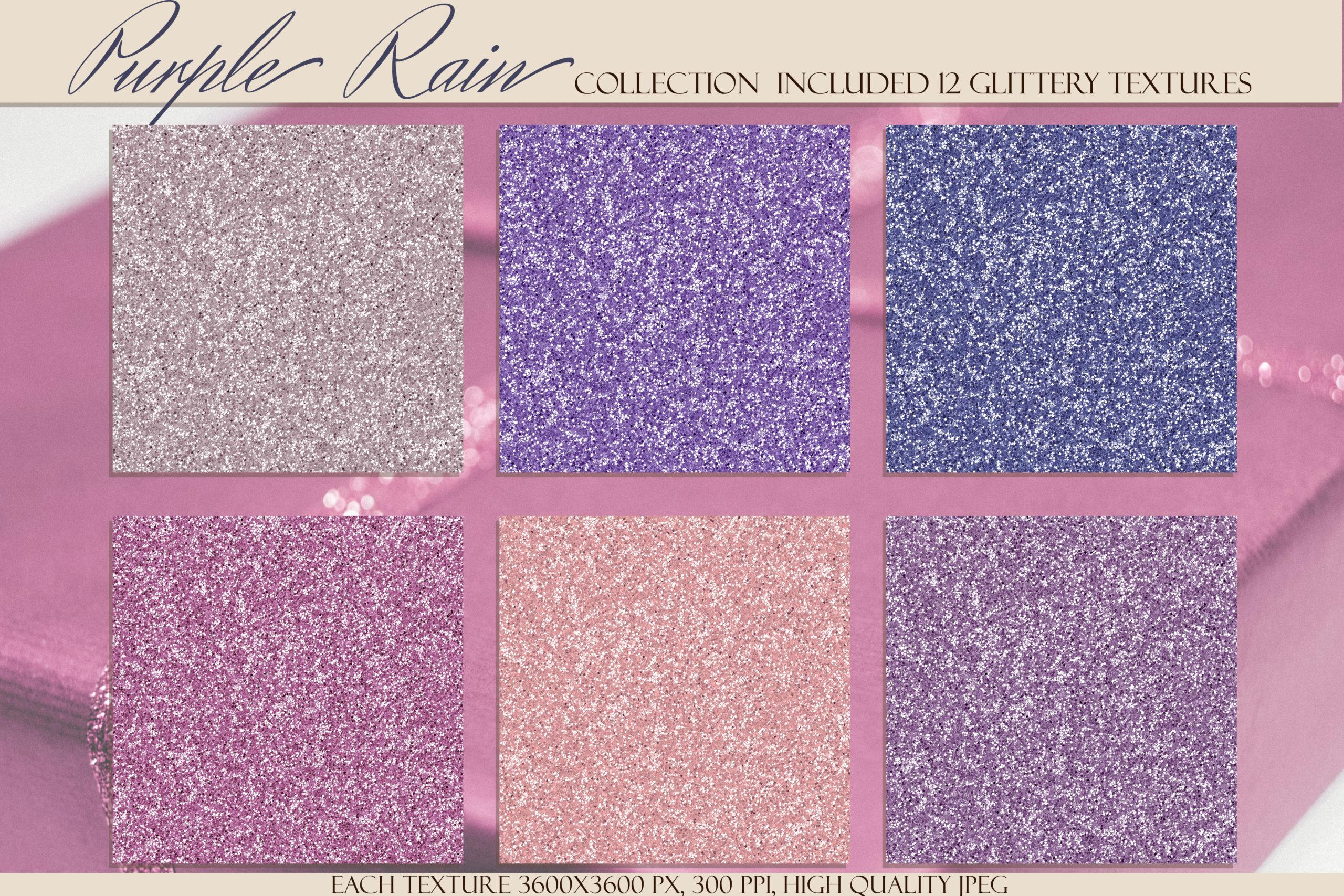 12款紫色闪光贴纸纹理背景图片素材 Purple Rain Glitter Texture Pack插图1